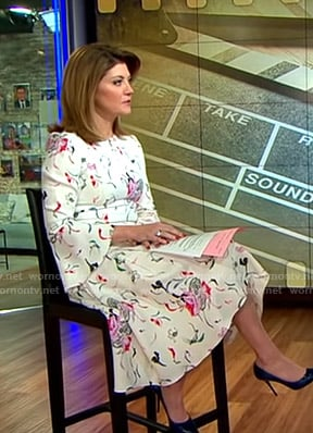 Norah's white floral keyhole dress on CBS This Morning