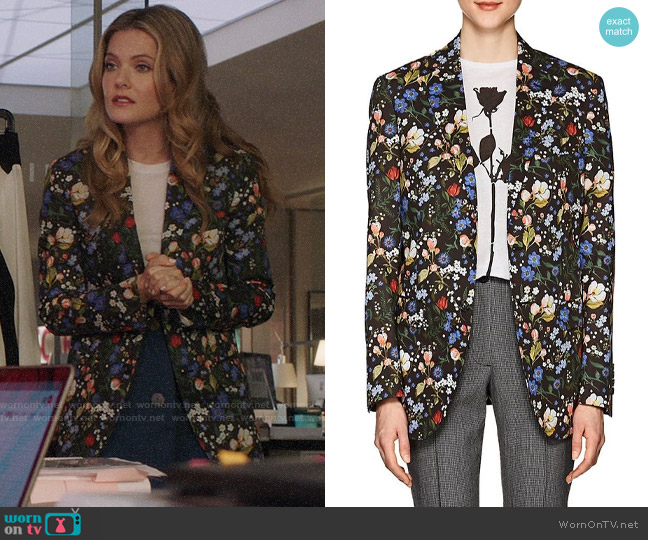 R13 Summer Floral Cotton Blazer worn by Sutton (Meghann Fahy) on The Bold Type