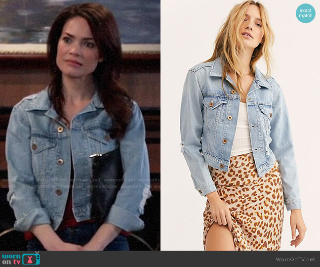 NSF Zella Denim Jacket worn by Elizabeth Webber (Rebecca Herbst) on General Hospital