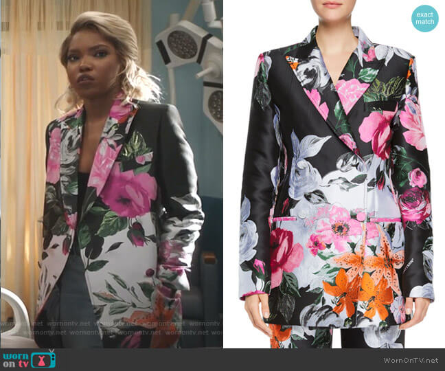 Floral-Jacquard Double-Breasted Jacket by Off White worn by Alexandra Crane (Ryan Destiny) on Star