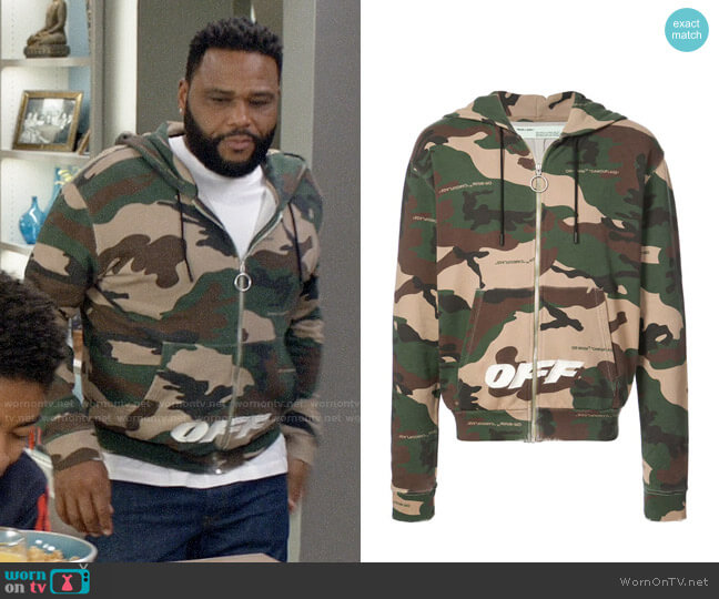 Off-White Camouflage Hoodie worn by Andre Johnson (Anthony Anderson) on Blackish
