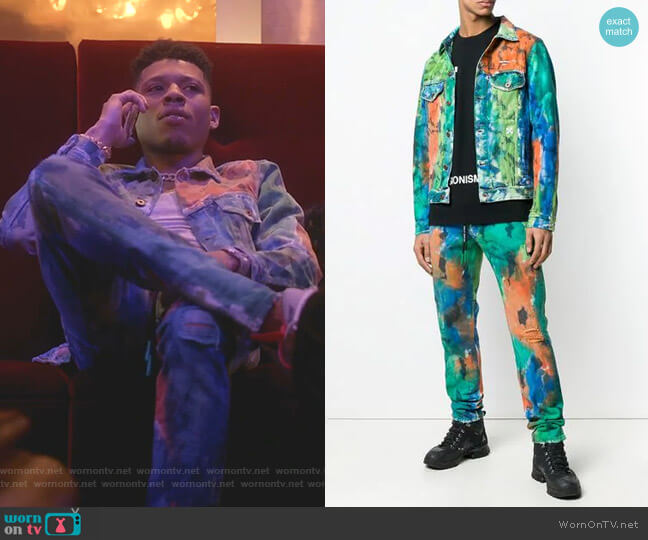 Painted Denim Jacket and Paint Splattered Jeans by Off-White worn by Hakeem Lyon (Bryshere Y. Gray) on Empire