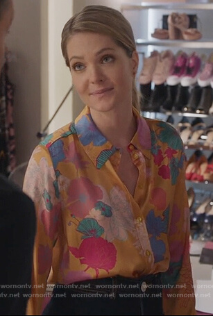 Sutton's orange floral blouse on The Bold Type