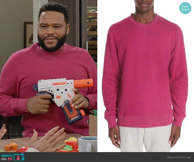 Ovadia & Sons Distressed Crewneck Sweatshirt worn by Andre Johnson (Anthony Anderson) on Blackish