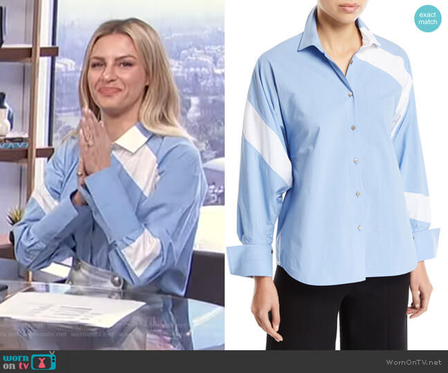 Solo Striped Cotton Paneled Button-Front Shirt by Palmer Harding worn by Morgan Stewart  on E! News