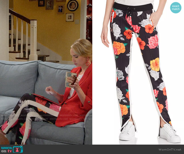 Pam & Gela Floral-Print Track Pants worn by Mandy Baxter (Molly McCook) on Last Man Standing