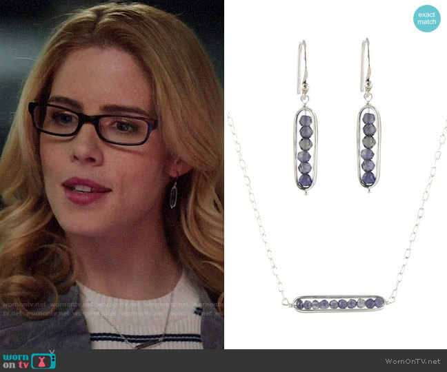 Peggy Li Iolite Earrings and Necklace worn by Felicity Smoak (Emily Bett Rickards) on Arrow