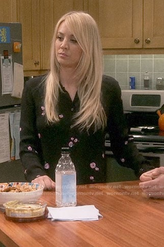 Penny's black and pink floral print shirt on The Big Bang Theory