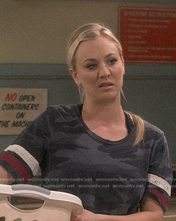 Penny's camo tee with striped sleeves on The Big Bang Theory