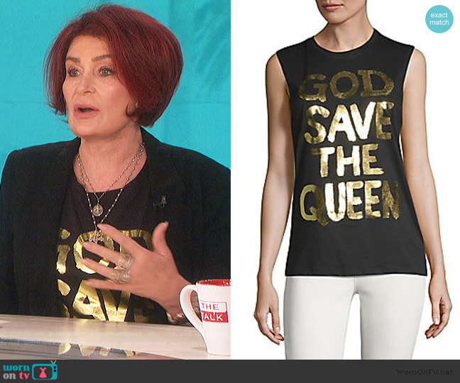 God Save The Queen Cotton Tank Top by Prince Peter Collections worn by Sharon Osbourne  on The Talk