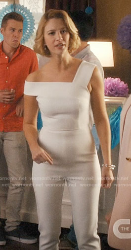 Petra's white one-shoulder jumpsuit on Jane the Virgin