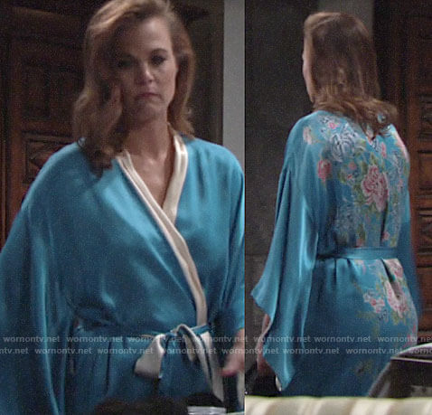 Phyllis's blue robe with floral back on The Young and the Restless