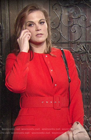 Phyllis's red belted coat on The Young and the Restless