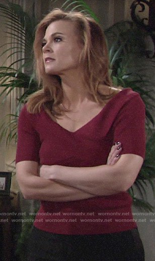 Phyllis's red off-shoulder top