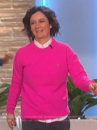 Sara's pink crew neck sweater on The Talk