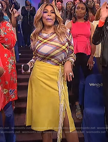 Wendy's plaid sweater and yellow fringe skirt on The Wendy Williams Show