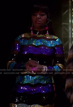 Porsha's metallic striped dress on empire