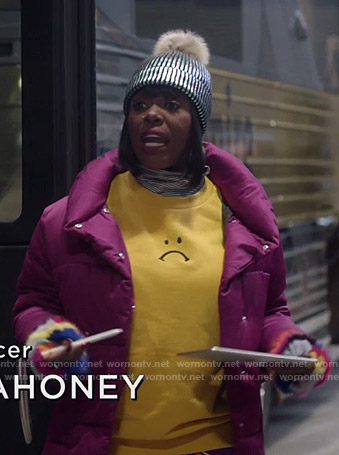 Porsha's yellow unhappy face print sweatshirt on Empire