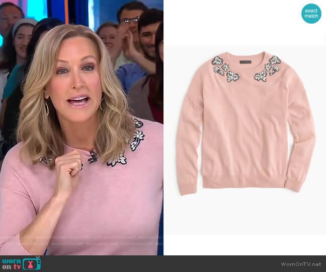 Opal-embellished Sweater by J.Crew worn by Lara Spencer (Lara Spencer) on Good Morning America