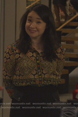 Marissa's patchwork print blouse on The Good Fight