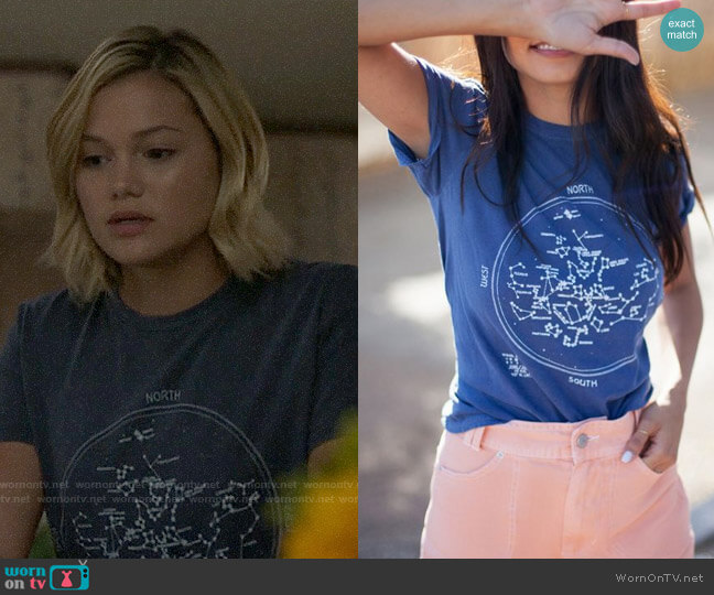 Project Social T Constellation Tee worn by Tandy Bowen (Olivia Holt) on Cloak & Dagger
