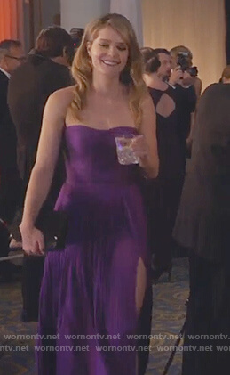Sutton's purple strapless gown on The Bold Type