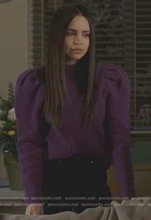 Ava's purple puff sleeve sweater on Pretty Little Liars The Perfectionists