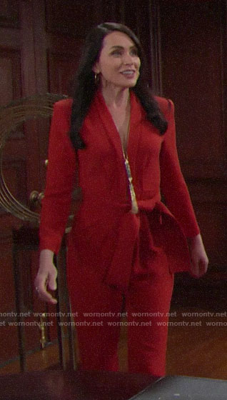 40f808608dae7 Quinn s red belted jumpsuit on The Bold and the Beautiful
