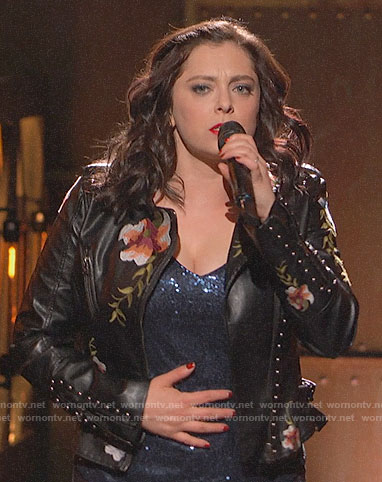 Rachel Bloom's studded floral leather jacket on Crazy Ex-Girlfriend Finale Concert
