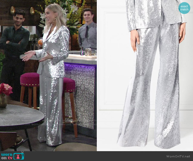 Rachel Zoe Maida Wide-Leg Fluid Sequin Pants worn by Abby Newman (Melissa Ordway) on The Young & the Restless