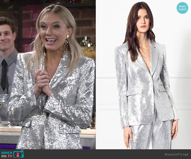 Rachel Zoe Rixey Fluid Sequin Blazer worn by Abby Newman (Melissa Ordway) on The Young & the Restless