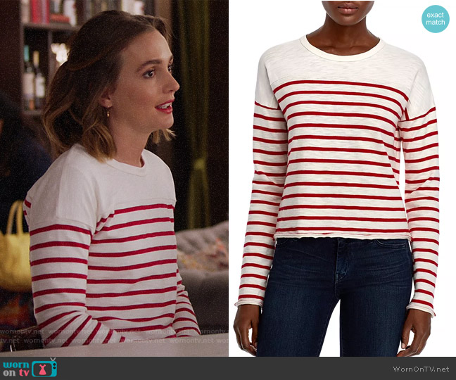 Halsey Raw-Edge Striped Tee by Rag & Bone worn by Angie (Leighton Meester) on Single Parents