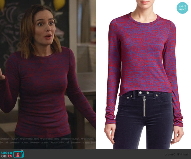 Marled Jersey Long-sleeve Tee by Rag & Bone worn by Angie (Leighton Meester) on Single Parents