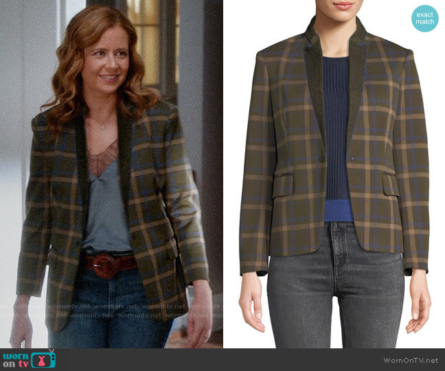 Rag & Bone Naomi Check Blazer worn by Lena (Jenna Fischer) on Splitting Up Together