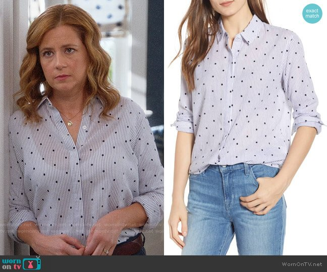 Rails Taylor Stripe Shirt worn by Lena (Jenna Fischer) on Splitting Up Together