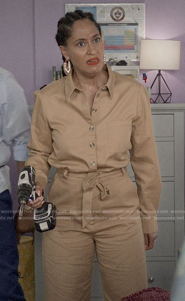 Bo's beige button up jumpsuit on Black-ish