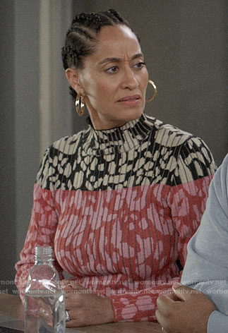 Bow's pink and black leopard print sweater on Black-ish