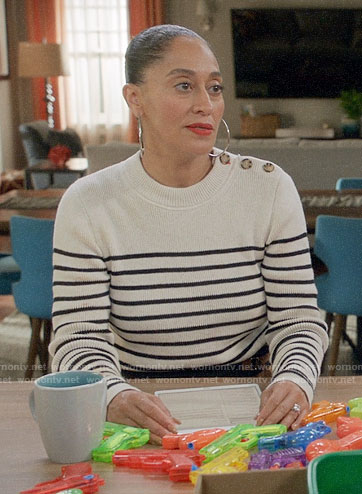 Bo's striped shoulder button sweater on Black-ish