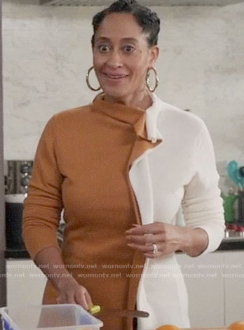 Bo's tan and white ruffled sweater on Black-ish