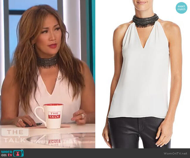 embellished collar top by Ramy Brook worn by Carrie Inaba (Carrie Inaba) on The Talk