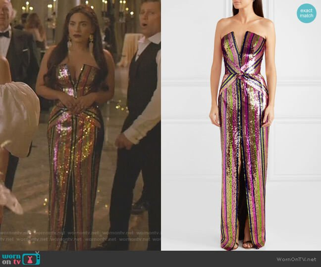 Strapless Sequined Crepe Gown by Rasario worn by Cristal Jennings (Ana Brenda Contreras) on Dynasty