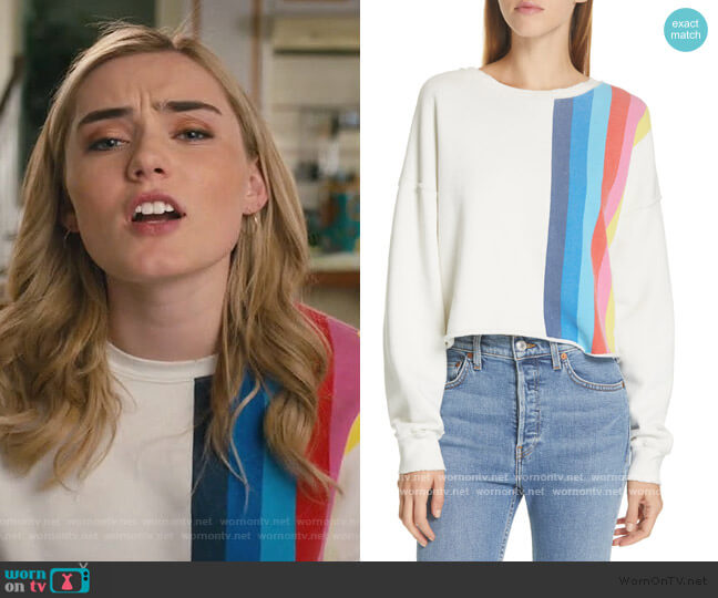 Stripe Raw Sweatshirt by Re/done worn by Taylor Otto (Meg Donnelly) on American Housewife