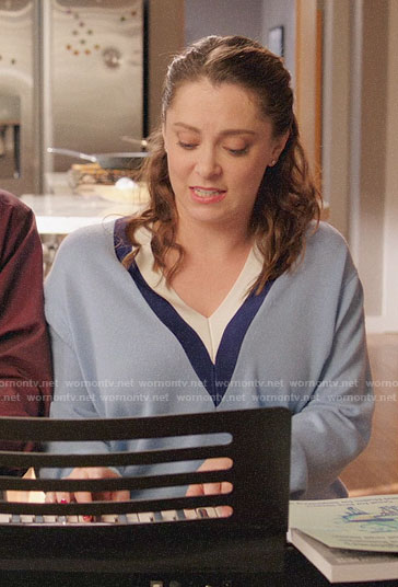 Rebecca's blue stripe trim sweater on Crazy Ex-Girlfriend