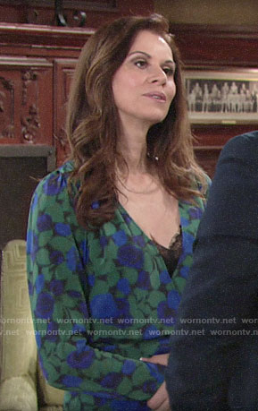 Rebecca's green and blue floral top on The Young and the Restless