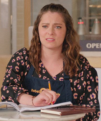 Rebecca's navy butterfly print top on Crazy Ex-Girlfriend