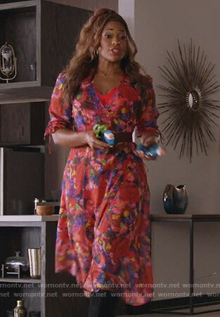 Poppy's red floral wrap dress on Single Parents