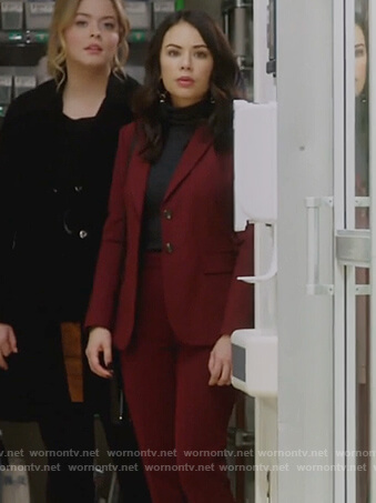 Mona's burgundy suit on Pretty Little Liars The Perfectionists