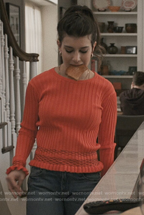 Ali's red ribbed sweater on Madam Secretary