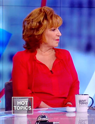 Joy's red ruffle neck blouse on The View