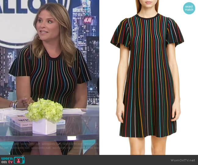Rainbow Stripe Shift Dress by RED Valentino worn by Jenna Bush Hager  on Today